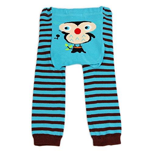 Dotty Fish Baby und Kleinkind Strickleggings. Leggings für Jungen und Mädchen. Blaue und braune Streifen mit Eulen. Klein (6-12 Monate)