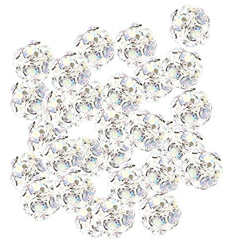Froiny 100 Unids Bolas Diamantes Imitación Crystal Poed Spacer Beads Redondos para Joyería Que Realiza Accesorios Pulsera Bricolaje