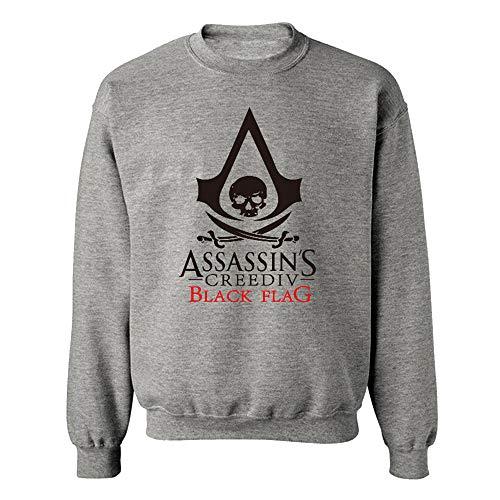 Assassin's Creed Sweatshirt Druckpullover Jumper Breathable Hoodies Gemusterte Sweatshirts Langarm Pullover Assassin's Creed Pullover (Color : Grey, Size : M)