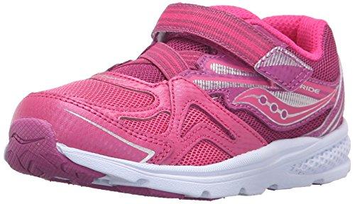Saucony Girls' Baby Ride Sneaker (Toddler/Little Kid), Pink/Berry, 11 M US Little Kid