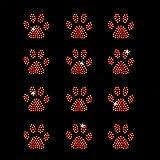 Set of 12 Orange Mini Paw Print Iron On Rhinestone T-Shirt Transfer for Women Girls by JCS Rhinestones