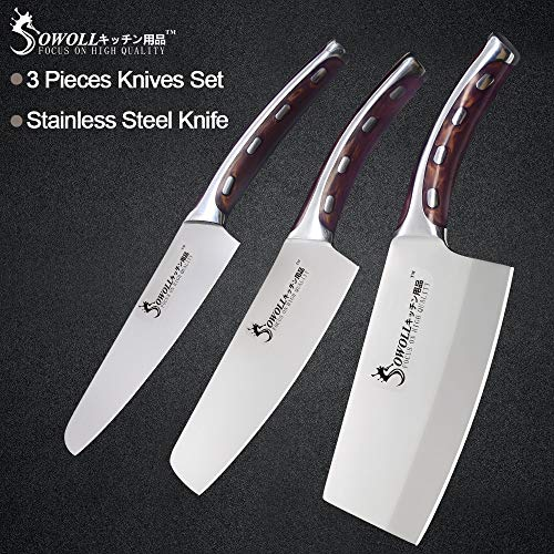Best Quality Kitchen Knives Sowoll 3 Piece Stainless Steel Kitchen Knife Set 5 6 7 inch Handle High Carbon Blade Utility Chef Chopping Knives