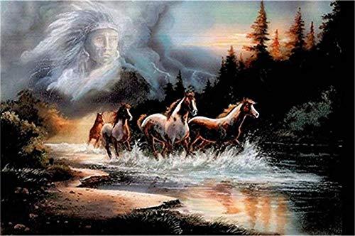 DMTWSM Olieverfschilderij om te knutselen met cijfers voor volwassenen, beginners en paarden, tekening met borstels, kerstdecoratie, geschenken, 40 x 50 cm