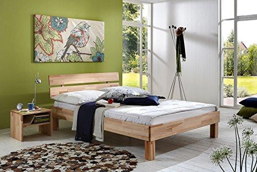 SAM Massiv-Holzbett 200x200 cm Jessica in Buche natur geölt, Bett mit geteiltem Kopfteil, natürliche Maserung