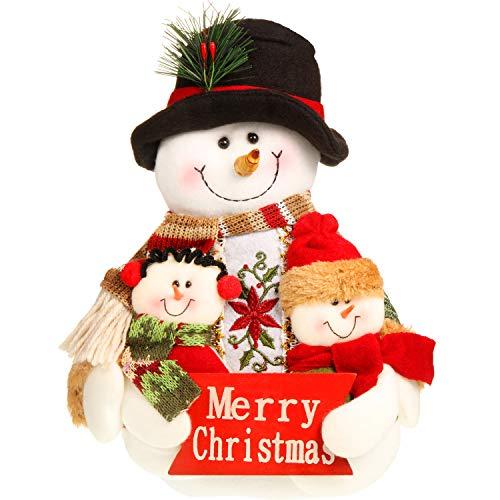 Adornos de Navidad Sentado Adornos Navideños de Mesa Chimenea Decoración de Hogar Figuras de Navidad (25 x 20 cm, Muñeco de Nieve)