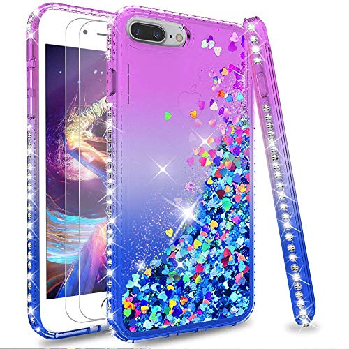 LeYi Case for iPhone 7 Plus 8 Plus with Tempered Glass Screen Protector [2 pack], Girl 3D Glitter Liquid Cute Personalised Clear Silicone Gel Shockproof Phone Cover for 7 Plus 8 Plus Purple Blue
