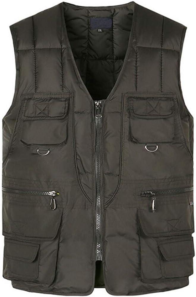Men Autumn Winter Fashion Multi Pocket Pure Color Waistcoat Vest Jacket Top