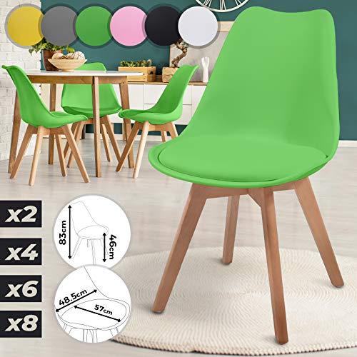 MIADOMODO Esszimmerstühle 2er 4er 6er 8er Set - im Skandinavischen Stil, gepolstert mit Sitzkissen, aus Kunststoff & Massivholz, Farbwahl - Vintage, Retro, Küchenstuhl, Stühle (4er, Grün)