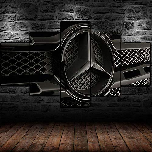 WANGZHONG -5 Panel Wall Art Painting Car Logo Zwarte Poster Print Op Canvas Het Foto voor Thuis Moderne Decoratie Stuk, Uitgerekt door Houten Frame, Klaar om op te hangen, (60 W X 32 H)