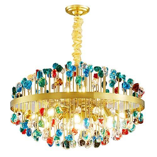 HLL Candelabros para el hogar, candelabros redondos modernos de cubos de cristal E14, 12 luces de techo de vidrio de lujo, accesorios, lámpara colgante de metal para comedor, sala de estar, cocina, i