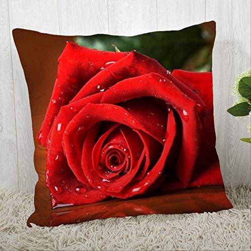 N\A Flowers Red Rose Pillow Cover Modern Home Decorative Pillowcase For Living Room 45 * 45CM V