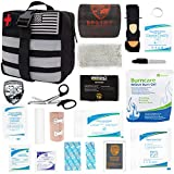 Atlas Survival Emergency IFAK Trauma Kit First Aid Kit with 36' Splint Roll, Aluminum Windlass Rod Tourniquet, Israeli Bandage, Molle Compatible for Hiking, Camping, Military, and More (Black)