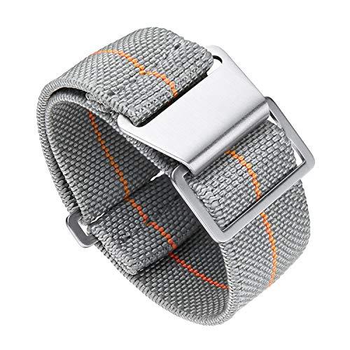 BINLUN Elastic Fabric Nylon Watch Band Waterproof Military Replacement Watch Strap Hook-and-Loop for Men Women Silver & Black Buckle 18/20/22mm