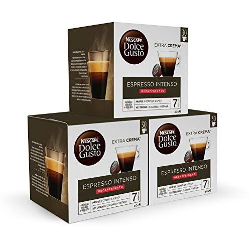 Nescafé DOLCE GUSTO Café ESPRESSO INTENSO DESCAFEINADO - Pack de 3 x 30 cápsulas - Total: 90 Cápsulas