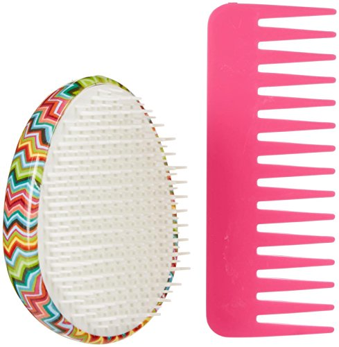 Scunci Printed Detangle Brush with Matching Comb - Zig Zag - 2 ct
