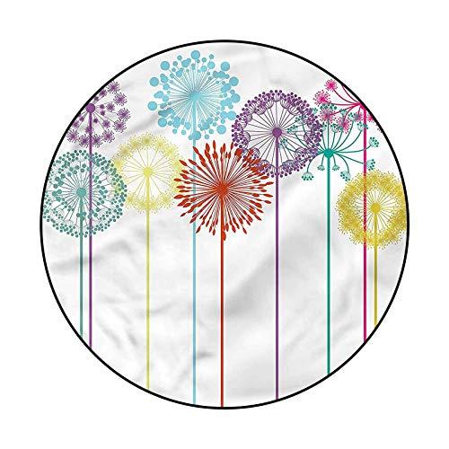 Floral Geometric Area Rug Yoga Decor Floor Cushion Colorful Dandelions Spring 6'6'
