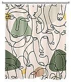 LB Abstraktes Gesicht Duschvorhang 150x200cm Minimalistische Frauengesichter Antischimmel Wasserdicht Badezimmer Gardinen, Kunst Mitte Jahrh&erts Extra Lange Polyester Stoff Bad Vorhang mit Haken