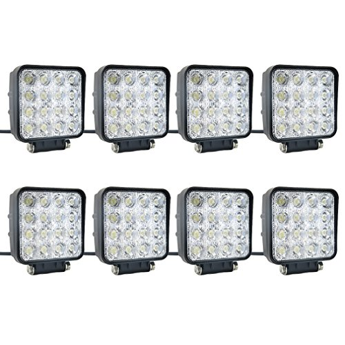 SUCOOL 8 pcs one pack 48w 30 Degree LED flood Beam Lights Square Off-road bulb lamp light fog lighting exterior For Jeep Cabin/Boat/SUV/Truck/Car/ATV/Vehicles/automative/jeep/Marine