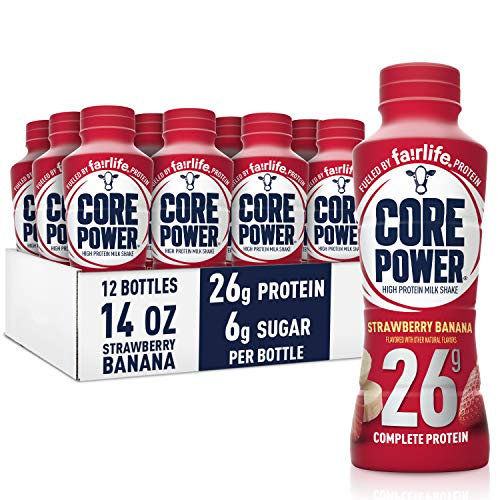 Core Power fairlife Core Power High Protein Milk Shake Strawberry banana 14 Fl Oz Pack of 12