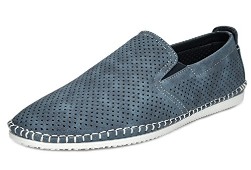 BRUNO MARC NEW YORK Bruno Marc Men's Sleeker Navy Loafers Moccasins Boat Shoes – 6.5 M US