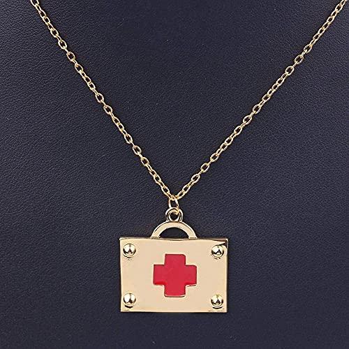 NC122 Colgante, Collar, joyería, Caja de Primeros Auxilios, Forma, Esmalte Dorado, Cruz roja, Moda médica, Regalo Creativo