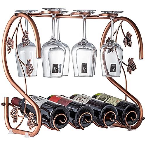 Estante de botellas de vino de metal, soporte de vino independiente para encimera, puede contener 4 botellas y 4 copas de vino, para decoración del hogar y cocina, bar, bodega de vino