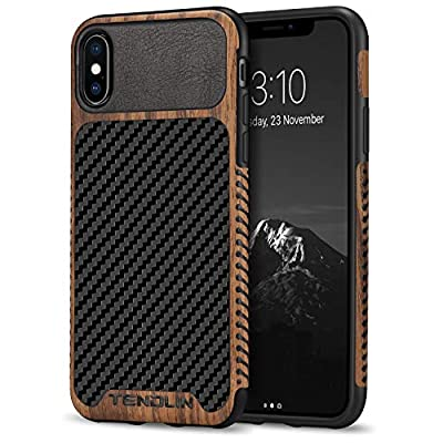 TENDLIN Compatible with iPhone Xs Case/iPhone X Case Wood Grain with Carbon Fiber Texture Design Leather Hybrid Slim Case Compatible with iPhone X and iPhone Xs