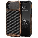 TENDLIN iPhone XSケース/iPhone X ケース 天然木層と炭素繊維テクスチャレザーTPUソフトケース 薄型 軽量 ワイヤレス充電 アイフォン X アイフォン XS カバー