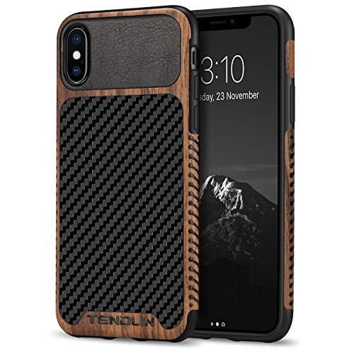 TENDLIN Kompatibel mit iPhone XS Hülle/iPhone X Hülle Holz & Carbon Fiber Leder Flexiblem TPU Silikon Hybrid Weiche Schutzhülle Kompatibel mit iPhone XS & iPhone X