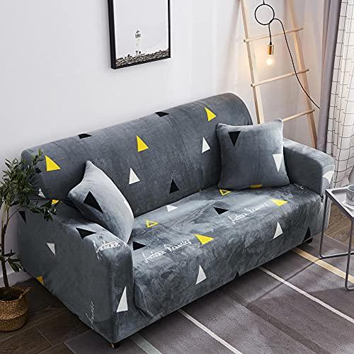 Fundas de sofá Funda de sofá Cama de Felpa con impresión a Color Protector de Muebles con Elasticidad para 3 Fundas de Almohada y Tira Antideslizante-Elegant_Seats_for_4_People_235-300cm