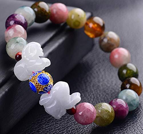 Pulsera de aleación Pulsera de turmalina arcoíris natural Feng Shui Amuleto de prosperidad Jade Conejo Cerdo Oveja TRES Yang Chakra Curación Talismán Piedra Protección contra el mal Atraer el b