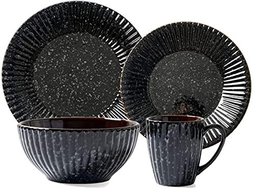Juego de platos, Conjuntos de vajilla vintage de 14 PC, conjuntos de cena de cerámica con glaseado de reacción, combinación completa de porcelana incluye placas, tazones y tazas, microondas y lavavaji