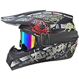 Casco de moto de calavera pirata, casco de motocross infantil – ECE 22.05, casco de moto Cross Set de casco BMX Quad Enduro ATV Scooter con Goggle/Guantes (mate, XS)