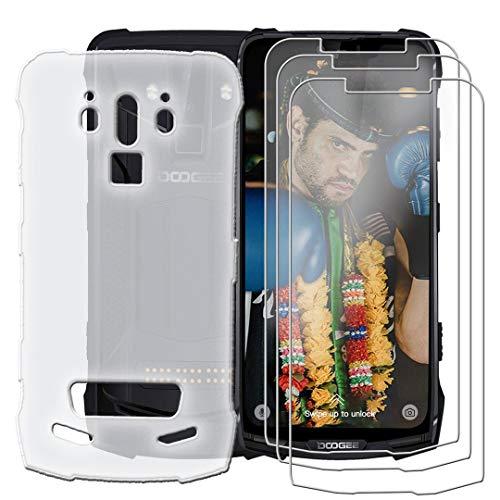 HYMY Hülle für DOOGEE S90 Pro 2019 + 3 x Schutzfolie Panzerglas - Weiß Durchscheinend Schutzhülle TPU Handytasche Tasche Durchsichtig Klar Silikon Case für DOOGEE S90 Pro 2019 (6.18