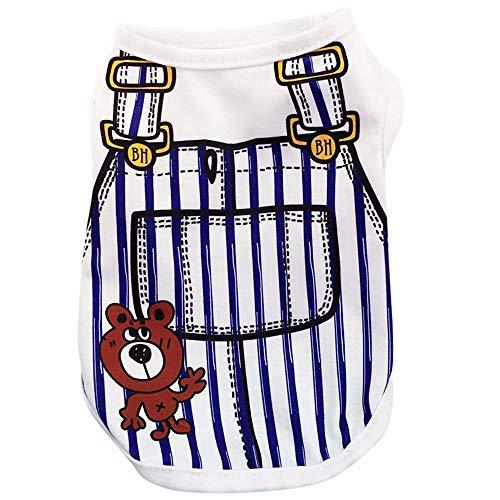YWLINK Sommer Haustier TräGerkleid Anzug Karikatur Drucken Hunde T-Shirt HüNdchen Katze Weste Shirt(Dunkelblau,L)