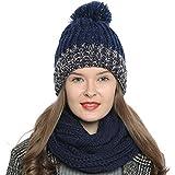 Bufanda de invierno tipo cuello suave y cálida para mujer con diseño de punto - Azul oscuro