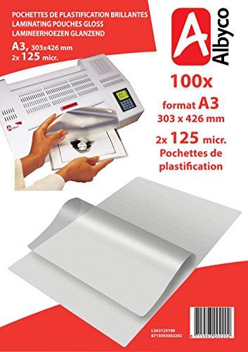 Laminierfolien DIN A3 100 Stück - 2 x 125 mic ( 250 mic ) - glänzend