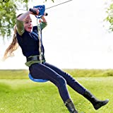 Jugader 100ft Zip Line for Kids and Adults with Cable Tensioner Kit, Zipline Kits for Backyard with Trolley, Stainless Steel Cable, Spring Brake, Adjustable Harness and Seat
