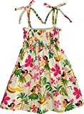 RJC Girl's Hula Spring Hawaiian Smocked Dress Beige 7