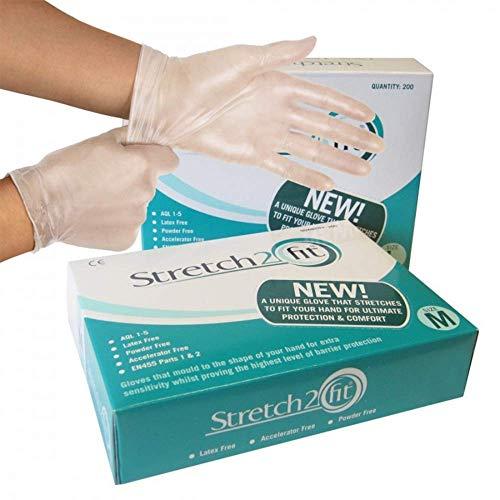 Låda med 100 eller 200 engångs- och återvinningsbara handskar – pulver- och latexfri, allergifri – arbete, matberedning, tatuering, NHS, rengöring, grossist, billig (låda med 200 medium)