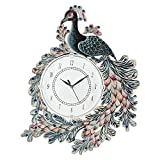 CAPIO ART Wooden Handpainted Peacock Wall Clock for Home Study Living Room