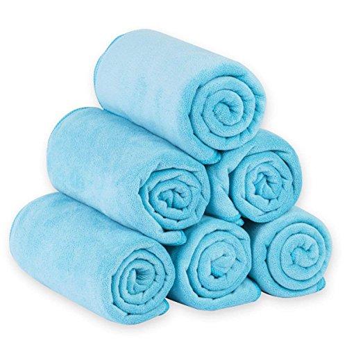 JML Microfiber Bath Towels, Bath Towel Set (6 Pack, 27' x 55') - Extra Absorbent and Fast Drying,Multipurpose Microfiber Towel for Bath, Beach, Pool, Sports, Yoga - Sky Blue