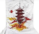 Fondo de fotografía de 1,5 x 2,1 m, colorido origami pájaro pagoda microfibra paño paño paño telón de fondo con bolsillo para barra (solo telón de fondo) para cumpleaños, bodas, festivales temáticos