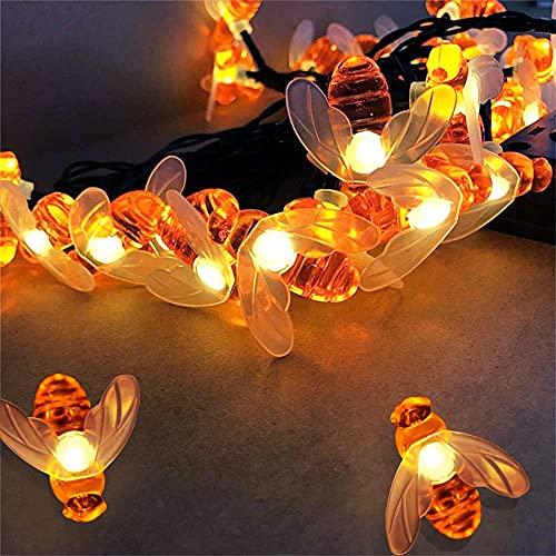 Solar lichterkette aussen,Solar Bienen Lichterkette 9m 60LED ,freien wasserdichte Garten-Dekorations-Licht-LED-Bienen-Tierform-Laterne im Freien 8 Modi Solarlicht für garten,Party, Hochzeit