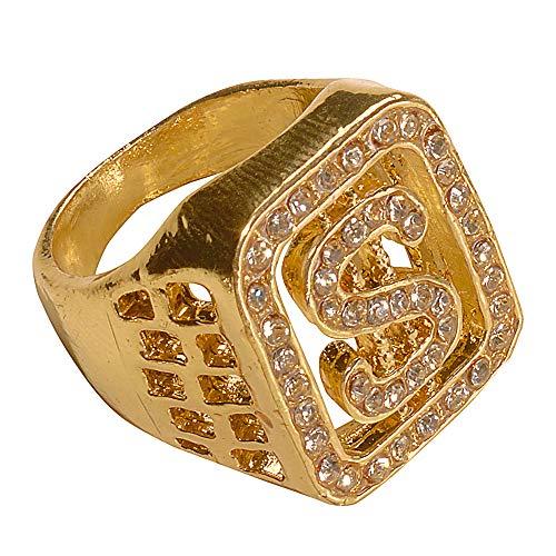 Widmann 2112P - Strass $ Ring, Gold, Accessoire für Traningsanzüge, Hip Hop, Gangster