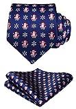 HISDERN Manner Weihnachtskrawatte Schneeflocke Santa Claus Muster Gewebte Partei Krawatte & Einstecktuch Set