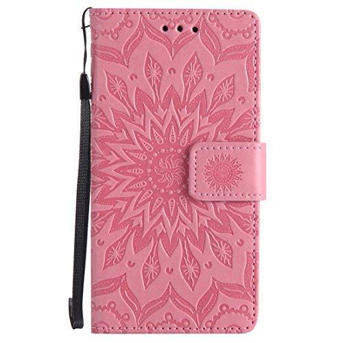 Nancen Compatible with Handyhülle Sony Xperia M5 Hülle,Leder Wallet Tasche Brieftasche Schutzhülle, Nancen Prägung Sonnenblume Muster