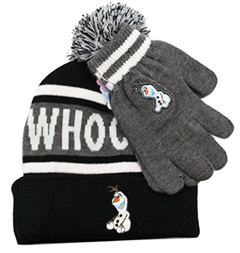 Disney Frozen Olaf Whoo! Headrush Youth Cuffed Beanie with Pom Pom and Touch Glove Set