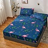 FJMLAY Sábanas ajustablesperfecto para el colchón, Sábanas Ajustables de Algodón Impresas, Alfombrilla de Protección Antideslizante para Dormitorio Apartamento Hotel-Blue_4_150cmx200cm