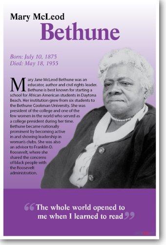 Mary Mcleod Bethune – Biographie – Leader des droits civils africains – Poster de salle de classe